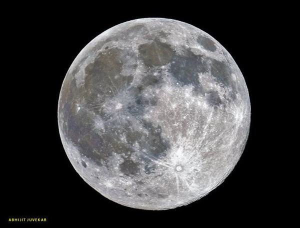Just after the crest of the full moon - 99.9% disk Illumination - from our friend Abhijit Juvekar in India.