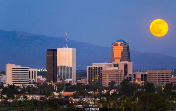 Full moon rising over Tucson, Arizona by Sean Parker Photography.
