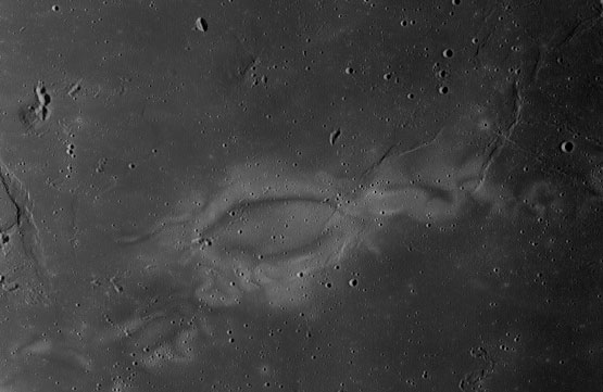 How Reiner Gamma got that way Areas scoured by a comet's impact appear brighter when the sun strikes at a certain angle. Reiner Gamma, on the Moon's near side, appears brightest in the crescent moon just before sunrise. Image: NASA/Lunar Reconnaissance Orbiter