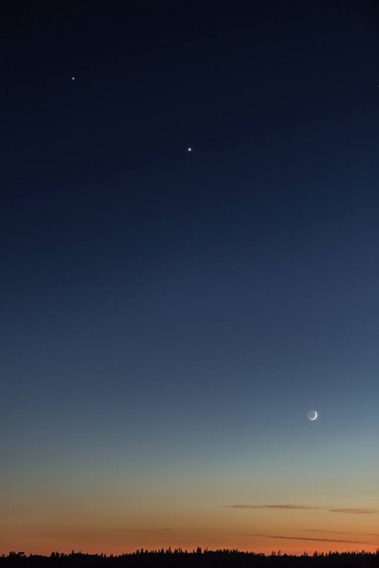 Gary Sanchez in California caught this view of the moon and planets on June 19.