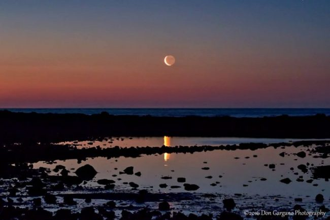 Waning crescent moon on the morning of June 2, 2016, rising over the Atlantic Ocean, Rye, New Hampshire, by Don Gargano Photography.