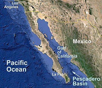 The Pescadero Basin is located in the Gulf of California, about 150 kilometers (100 miles) east of La Paz, Mexico. Image credit: Google Maps