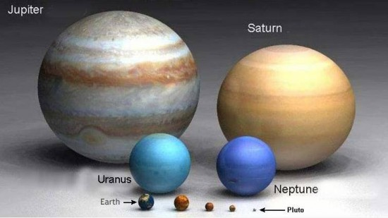 This artist's concept depicts the relative sizes of Venus and Jupiter.  Jupiter is the biggest one.  Venus is the little world to the right of Earth - about the same size as Earth.