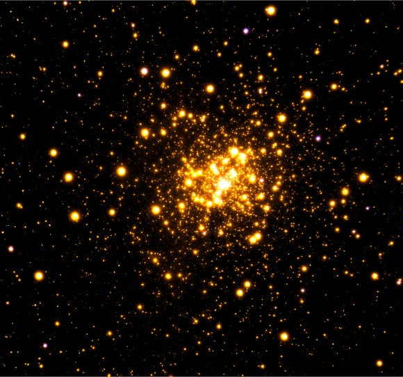 Gemini Observatory near-infrared image of the globular cluster Liller 1 obtained with the GeMS adaptive optics system on the Gemini South telescope in Chile. View larger. |  Image credit: Gemini Observatory/AURA