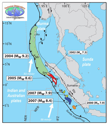 Map showing the locations of recent megathrust earthquakes near Sumatra. Image Credit: California Institute of Technology.