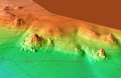 This 3D map of the seafloor was generated using sonar data from MBARI's seafloor-mapping AUV. It shows several hydrothermal chimneys rising up to 12 meters (40 feet) above the floor of the Pescadero Basin. Image credit: © 2015 MBARI