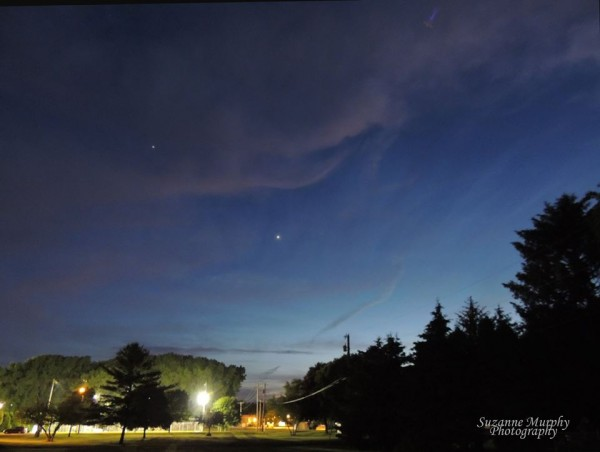 Here's what most of us would see if we looked west tonight.  Venus (brighter, below) and Jupiter are very bright - the two brightest starlike objects in the sky.  Even if you see no stars in the west after sunset, you'll surely see these two very bright planets.  Photo from June 2, 2015 by Suzanne Murphy in Wisconsin.  Thanks, Suzanne.
