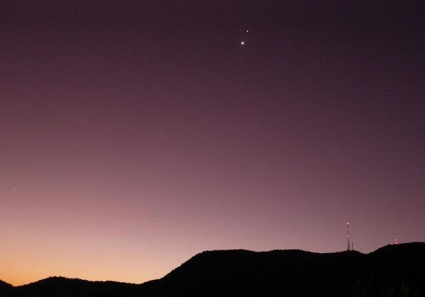 Venus and Jupiter after sunset on June 28, 2015 by Peter Lowenstein in Mutare, Zimbabwe.