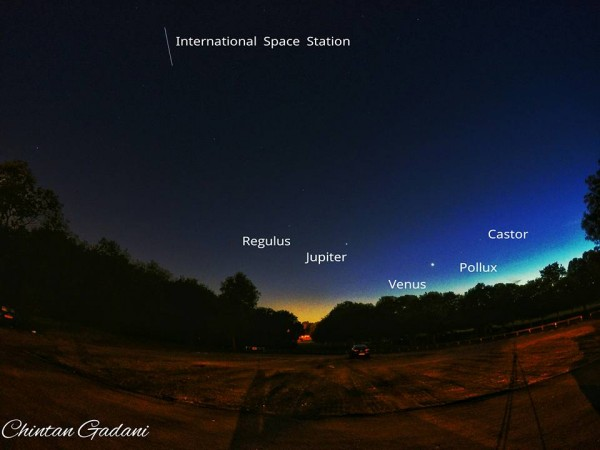 10-second exposure of the western sky after sunset.  Photo by Chintan Gadani in Stevenage, UK.  Compare to image below.