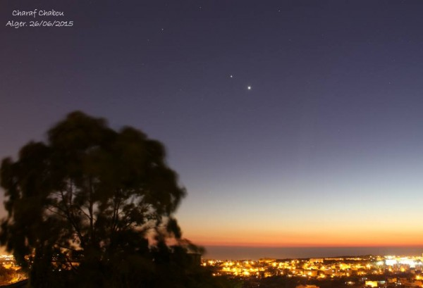 Venus and Jupiter, June 26, from Charaf Chabou in Algeria.
