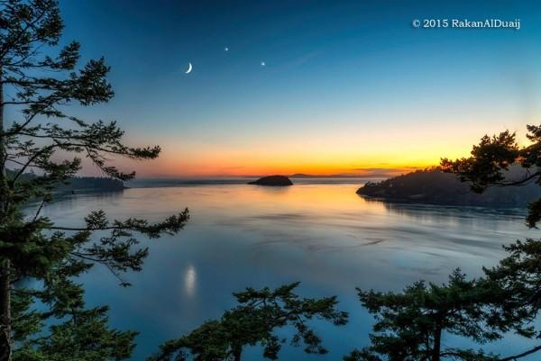 Moon, Venus, Jupiter on June 20 from Rakan Alduaij at Deception Pass, Washington.