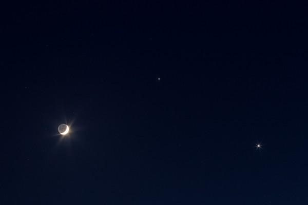 Venus, Jupiter and the moon on June 20, 2015 by Greg Hogan in Kathleen, Georgia