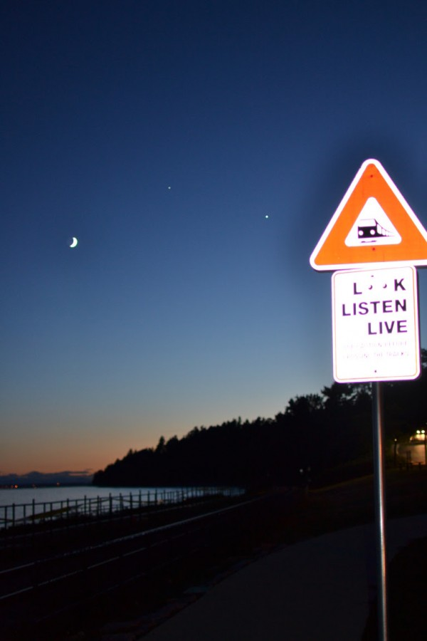 Venus, Jupiter and the moon on June 20, 2015 by Thomas Luxford in White Rock, British Columbia, Canada
