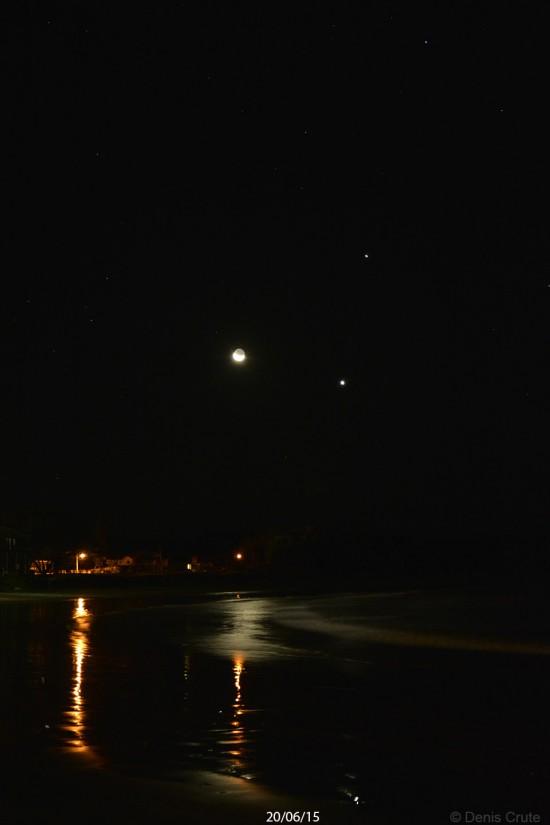 Moon, Venus and Jupiter on June 20, 2015 over Woolgoolga Beach in Australia, by Denis Crute.  He wrote: