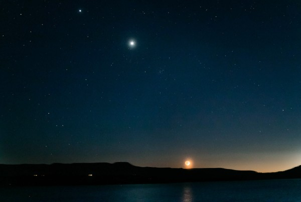 Jupiter, Venus, the Beehive star cluster and the moon are visible in this image from June 18, 2015 by Matt Schulze in Santa Fe, New Mexico.