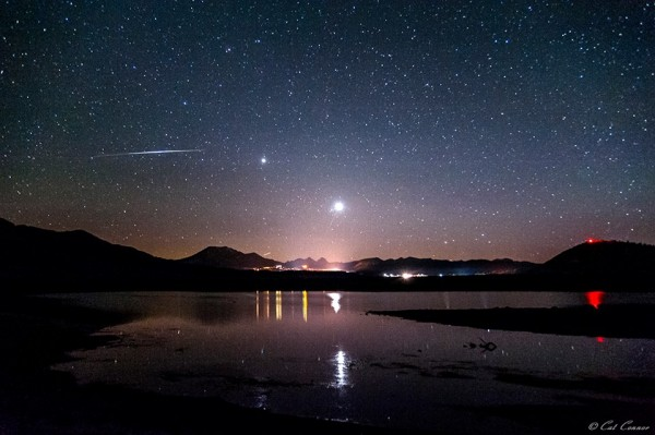 Venus (below, brighter) and Jupiter are in the west after sunset.  Cat Connor captured this photo at Mammoth Lakes, California and posted it to EarthSky Facebook on June 15.