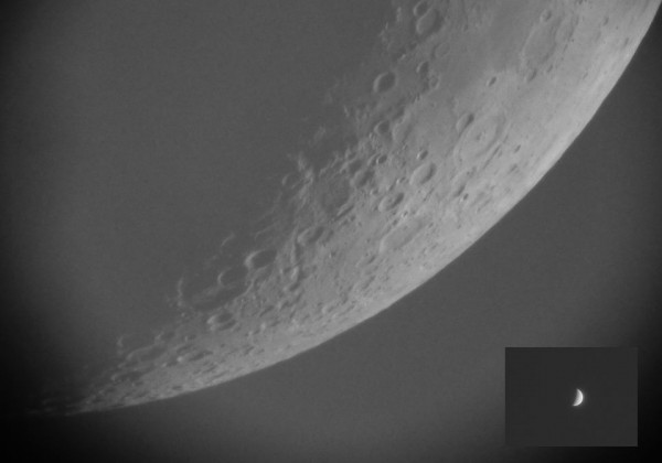 A comparison of the phase of Venus on June 20 (inset) to the phase of the moon.  Both new appear as crescents.  By Alexander Kozik.