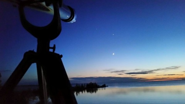 Moon, Venus, Jupiter on June 19, 2015 from The Headlands, Michigan, by Leslie Savik Gentner.