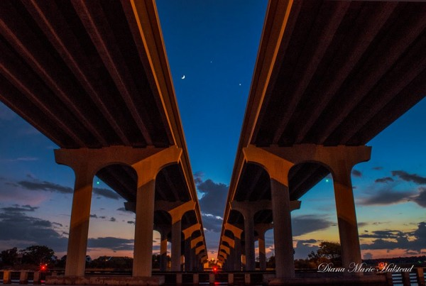 Diana Halstead caught the moon and planets on June 20 from Jacksonville Beach, Florida.