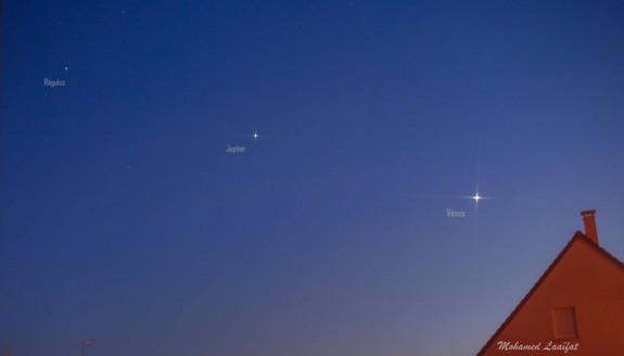 Jupiter and Venus are the brightest objects in the west after sunset, but they make a noticeable line with a bright star.  The star is Regulus in the constellation Leo.  Photo by Mohamed Laaifat Photographies in Normandy, France.