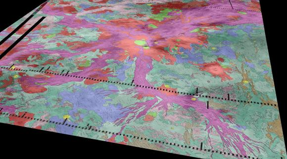 Radiating our from the Venusian volcano Ozza Mons (red, center) are thousands of miles of rift zones (purple). Data from the Venus Express spacecraft suggests there are active lava flows in hotspots along the rifts. Image credit: Ivanov/Head/Dickson/Brown University