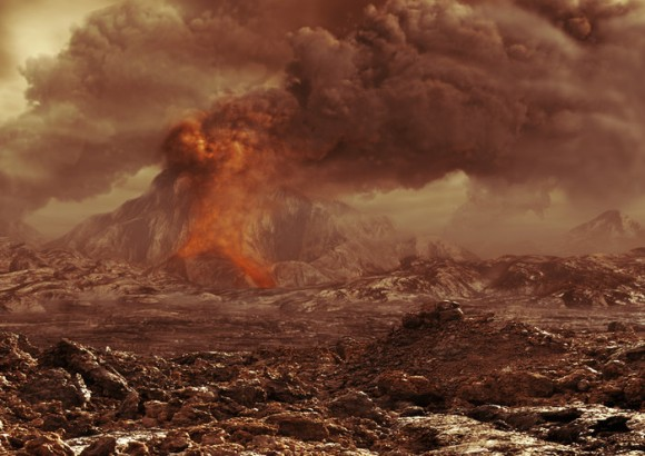 Artist's impression of a volcano erupting on Venus. Whether Venus really is active today is a hot topic in planetary science. Image credit: ESA - AOES Medialab