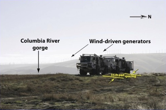 Vibroseis sources working in unison to form a seismic source array across a CO2 sequestration site