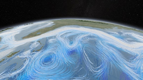 Wind and currents can affect a sea's level. Image credit: NASA Goddard Space Flight Center
