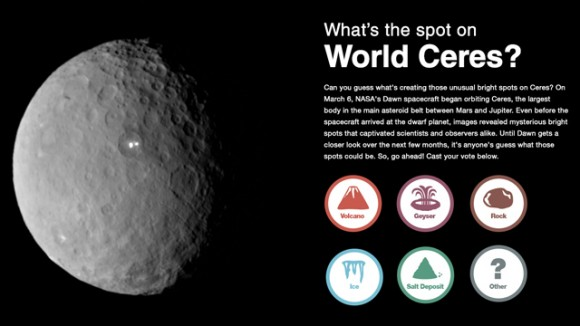 NASA wants you to vote on what you think the bright spots might be.  Click the image to go to the voting page.