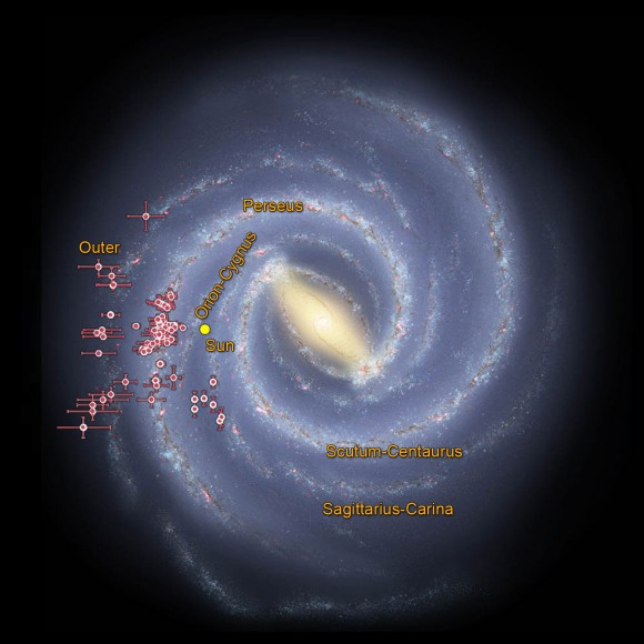 Astronomers using data from NASA's Wide-field Infrared Survey Explorer, or WISE, are helping to trace the shape of our Milky Way galaxy's spiral arms. This illustration shows where WISE data revealed clusters of young stars shrouded in dust, called embedded clusters, which are known to reside in spiral arms. Image credit: NASA
