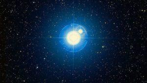 Zubenegenubi: Brilliant star with lens rays accompanied by very close smaller star.