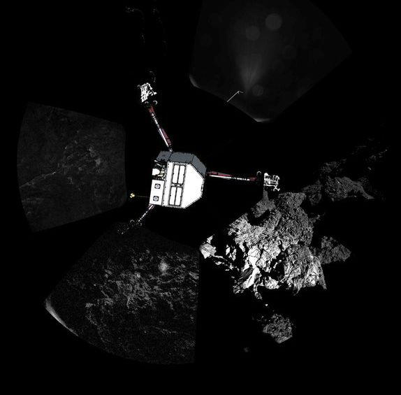 360º view around the point of Philae's final touchdown. The three feet of Philae's landing gear can be seen in some of the frames. Superimposed on top of the image is a sketch of the Philae lander in the configuration the lander team believed it was in November 2014.  Image credit: ESA/Rosetta/Philae/CIVA