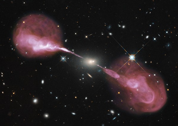 Active galaxy, Hercules A, showing extensive radio jets.  Image via NRAO.