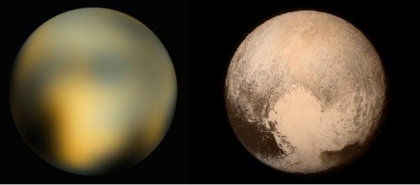 Best image of Pluto from Hubble Space Telescope (l) in contrast to best image of Pluto so far from New Horizons.