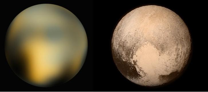 On the left, a blurry round ball, on the right a much-crisper image of Pluto with its heart-shaped feature.
