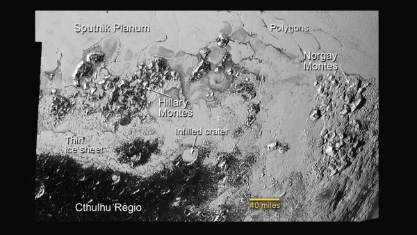 View larger. | Labeled image of Pluto - from New Horizons' pass on July 14, 2015 - showing plains, mountains and craters.  Nitrogen ice is flowing in these areas.