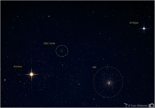 Star photo. Bright Antares, large fuzzy M4, dim NGC 6144, and another star labeled.