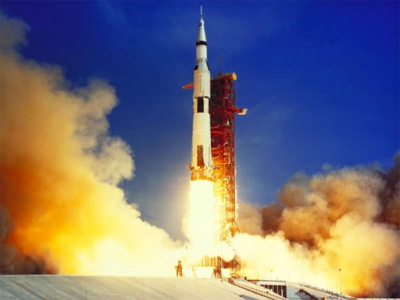 Apollo 11 blasts off to the moon, July 16, 1969, carrying the first three humans to visit another world.