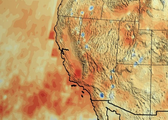 "California's accumulated precipitation ""deficit"" from 2012 to 2014 shown as a percent change from the 17-year average based on TRMM multi-satellite observations. Image credit: NASA/Goddard Scientific Visualization Studio"