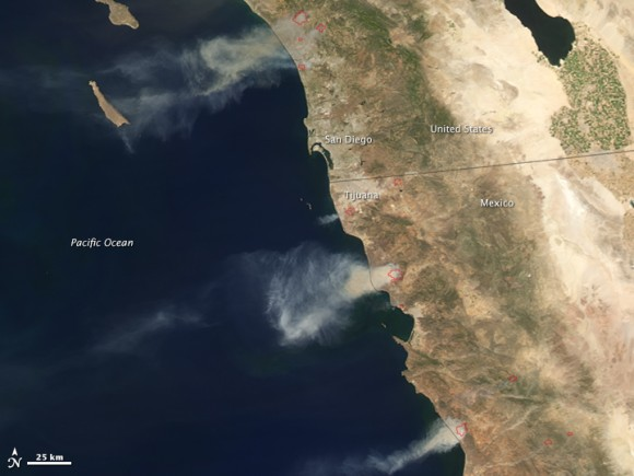 Last year's wildfire season got off to a ferocious start in southern California and northwestern Mexico when record-breaking temperatures and powerful Santa Ana winds fueled at least nine fires between May 14–16, 2014. Image credit: NASA