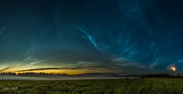 View larger. | Noctilucent clouds and rising moon, by  Juri Voit Photography.  Thank you, Juri!