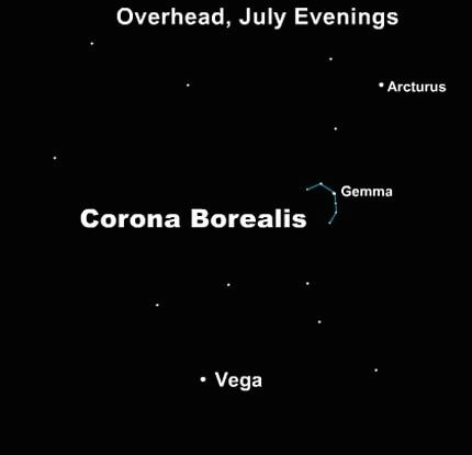 The constellation Corona Borealis, the Northern Crown, is noticeable in a dark sky.  It has a distinctive C shape.