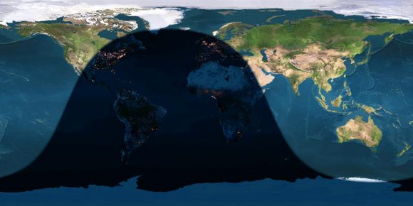 Day and night sides of Earth at the instant of the first July 2015 full moon (2015 July 2 at 2:20 Universal Time). Image credit: Earth and Moon Viewer