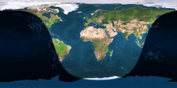 Day and night sides of earth at the instant of the July 31 full moon (2015 July 31 at 10:43 Universal Tine). Image credit via Earth & Moon Viewer