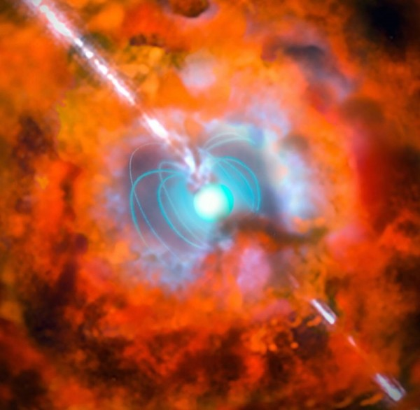 Artist's impression of a supernova and associated gamma-ray burst driven by a rapidly spinning neutron star with a very strong magnetic field — a magnetar.  Image via ESO