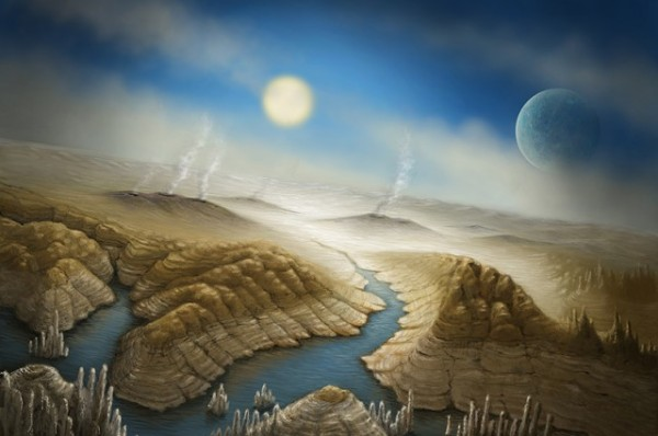 Artist's concept of Earth cousin Kepler 452b.  This world might have water and active volcanoes. Image via SETI Institute/Danielle Futselaar.