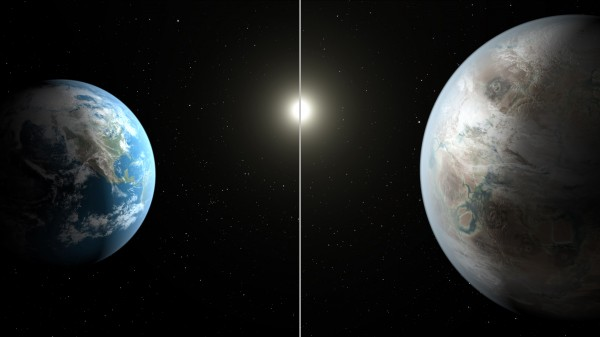 View larger. | Face to face!  Artist's concept of Earth (l) and Kepler 452b.  Image via NASA.