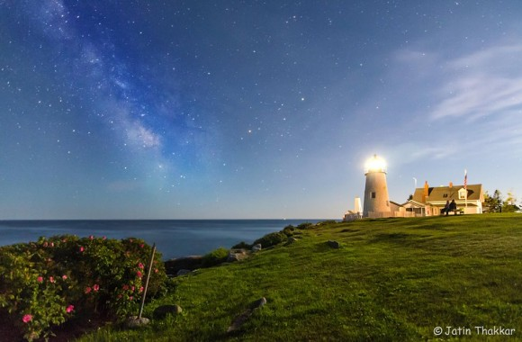 Milky Way over Maine lighthouse