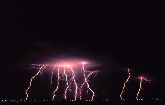 Cloud-to-ground lightning might be common when thunderstorms happen after dark. Photo credit: NOAA
