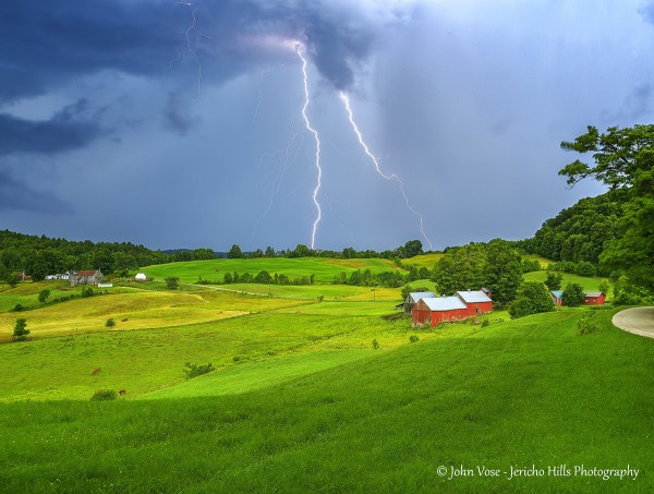 Lightening over Vermont.  Photo by John Vose at Jericho Hills Photography.